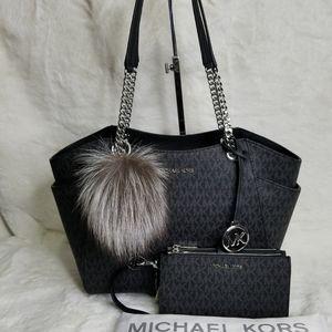 NWT Michael 3 PCS Set Matching Purse Bag Wallet Pom authentic Designer Matching